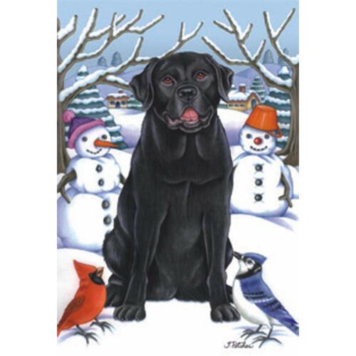 Black Labrador Retriever Winter Decorative Flag