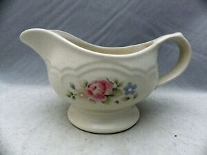 Pfaltzgraff-Tea-Rose-pattern-Gravy-Sauce-Boat-Pitcher-8-034-wide-EUC