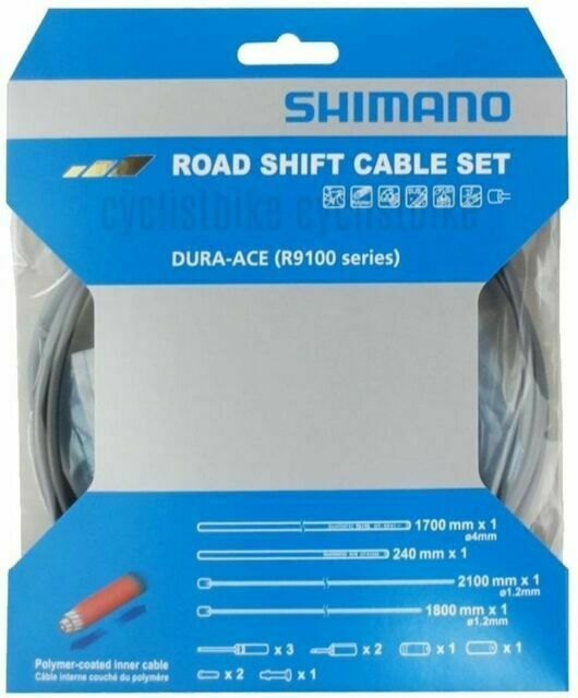 SHIMANO DURA-ACE R9100 SP41 POLYMER-COATED DERAILLEUR HIGH-TECH GREY CABLE SET