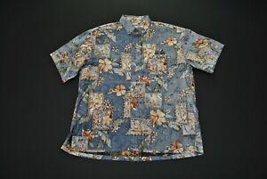 VTG-KE-Nui-UCLA-Hawaiian-Shirt-Aloha-Herren-Grosse-L-Island-Blue-Print-Floral