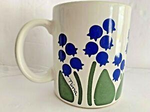 Vintage-Nina-Blue-Bluebells-Floral-Design-Coffee-Cup-Mug-CHD-1983-Some-Wear