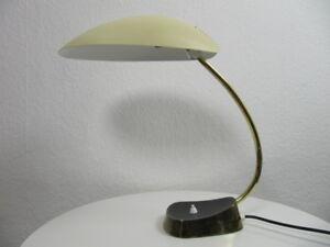 VTG-Messing-Leuchte-Schreib-Tisch-Lampe-50er-Jahre-gelb-schwarz-vintage-amp-alt