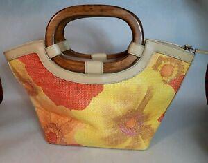 Floral-Weaved-Hand-Bag-Satchel-wood-handles-13-5-034-10-5-034-Used