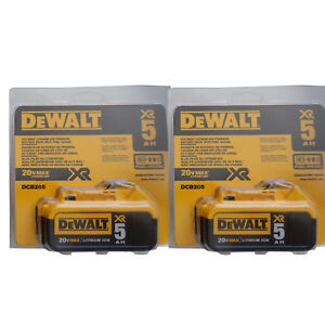 (2) DEWALT DCB205-2 20V 20 Volt MAX Lithium Ion 5.0 AH Battery Packs New DCB205