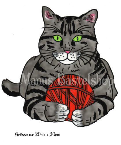 Fensterbild Window Color Bild Katze mit Wollknäuel 025 Fensterfolie