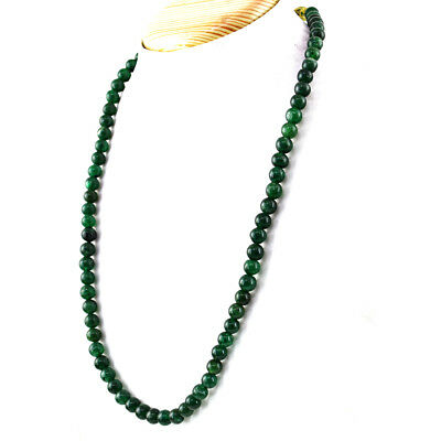 WONDERFUL FACETED AAA 625.00 CTS NATURAL GREEN EMERALD UNTREATED BEADS NECKLACE