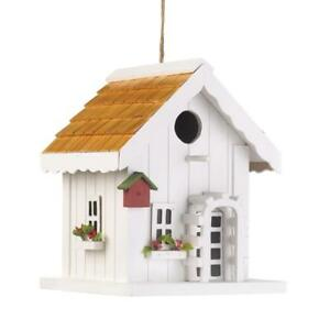 HOME-GARDEN-DECOR-HAPPY-HOME-WHITE-BIRD-HOUSE-BIRDHOUSE-WOOD