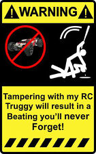 """4"""" Warning Tampering with my Rc Truggy Decal Sticker Stadium short 1/10 traxxas"""