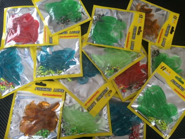 14x PFS Soft Plastic Grubs & Jigheads Fishing Lures Craw Fish Tackle BREAM PFS