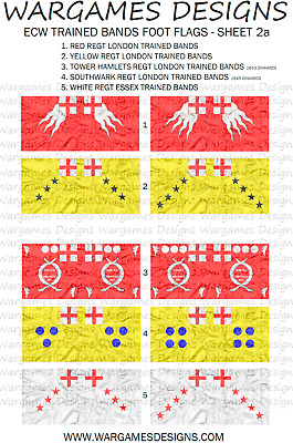 FOG Baroque WECW 10mm ECW Royalist Foot Flags Sheet 6 DBR Pike /& Shotte