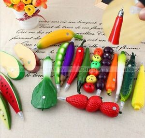 Cute-Fruit-Watermelon-Strawberry-Eggplant-Orange-Shaped-Convenient-Ball-Pen