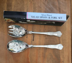 Vintage-1970s-Silver-Plated-Salad-Spoon-amp-Fork-Set-Original-Box-Sheffield