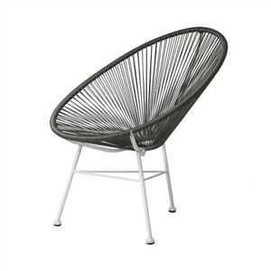 Swell Details About Acapulco Sun Oval Weave Indoor Outdoor Lounge Chair Gray With White Frame Caraccident5 Cool Chair Designs And Ideas Caraccident5Info