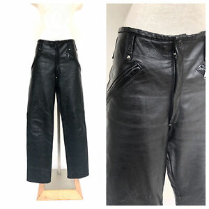 Vintage-VTG-1970s-70s-Custom-Made-Black-Leather-Zip-Open-Moto-Pants