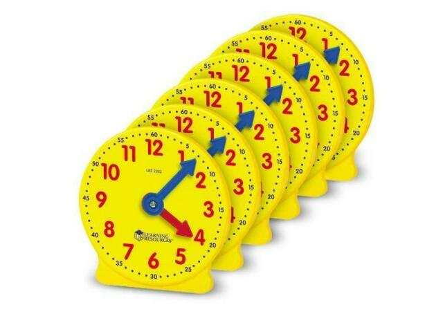 Learning Resources Big Time Geared Mini-Clocks, Set of 6 (LER2202)