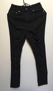 Details about Bob Fashion Nova Women\u0027s Black Denim, Skinny High Waisted  Ripped Jeans Size 9/10
