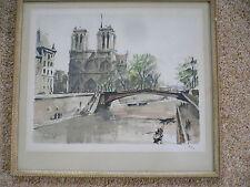 Herbelot.Lithograph.Limited Edition. Paris Notre Dame et la Seine.