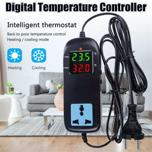 Breeding-Electronic-Thermostat-Digital-Temperature-Controller-w-Socket-EU-Plug