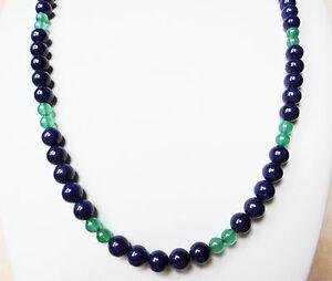 Edelsteinkette-Natur-Lapis-Lazuli-Halskette-8mm-Perlen-67-cm-Collier-True-Gems