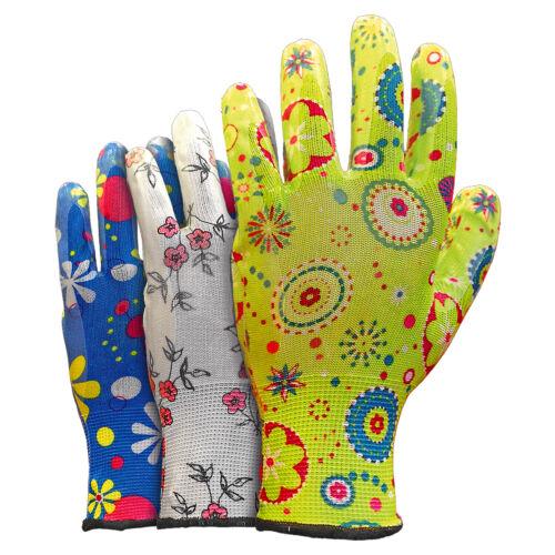 12 PAAR Arbeitshandschuhe Gartenhandschuhe Handschuhe Damen bunt (RGARDEN-NI)