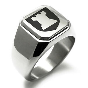 Stainless-Steel-Strategy-Coat-of-Arms-Shield-Mens-Square-Biker-Style-Signet-Ring