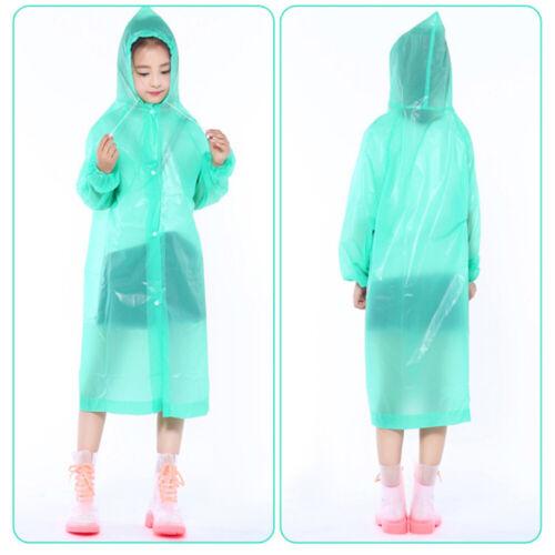 Adult Kids Raincoat Transparent Waterproof Plastic Reusable Rain Poncho Lady Men