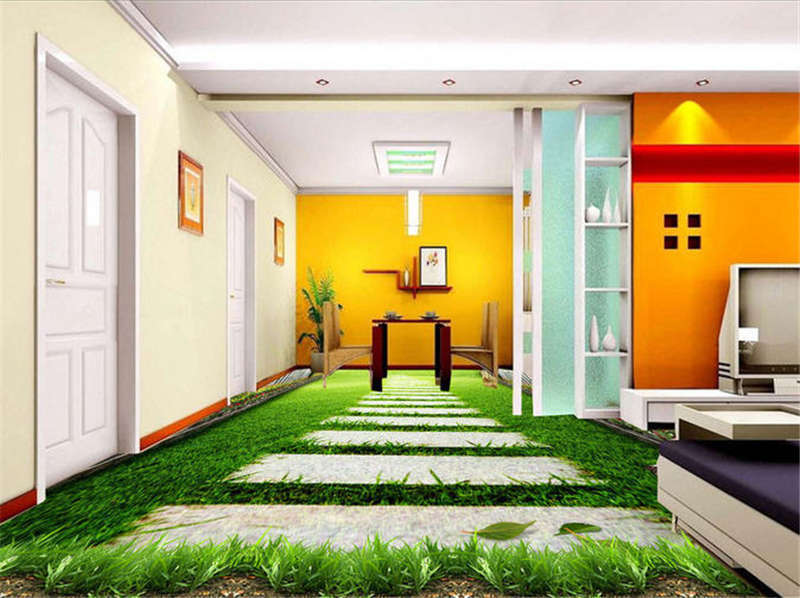 Glass bluee Sky 3D Floor Mural Photo Flooring Wallpaper Home Printing Decoration