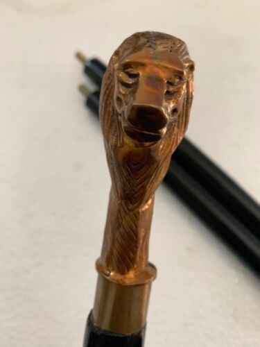 Design Vintage Lion brass handle victorian cane black wooden walking stick Gift
