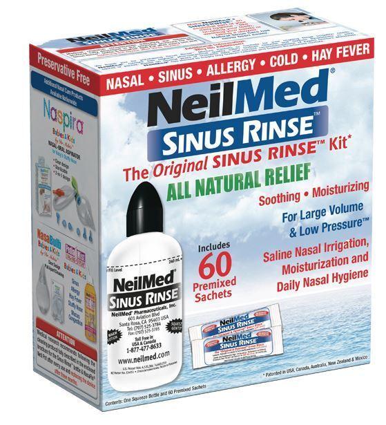 NeilMed Sinus Rinse 60 Sachets and 240ml Bottle Kit