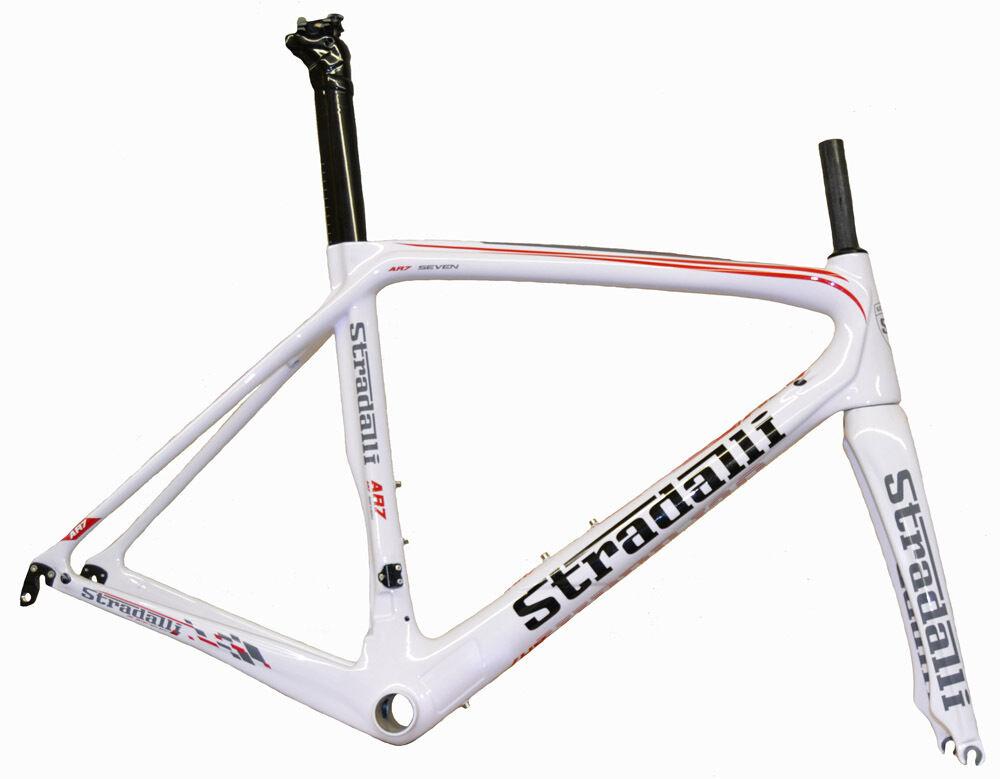STRADALLI CARBON FIBER AERO ROAD BIKE BICYCLE FRAME FRAMESET WHITE 56CM LARGE L