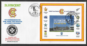 ST-VINCENT-2000-LORD-039-S-CRICKET-100th-TEST-MATCH-Souv-Sheet-FIRST-DAY-COVER