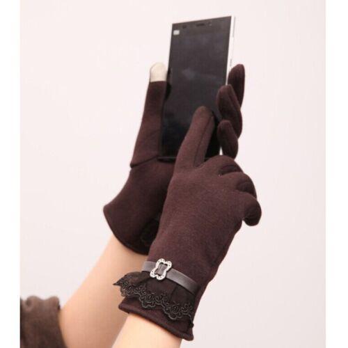 Attractive Cute Womens Touch Screen Winter Warm Weaved Knit Wrist-Gloves Mittens