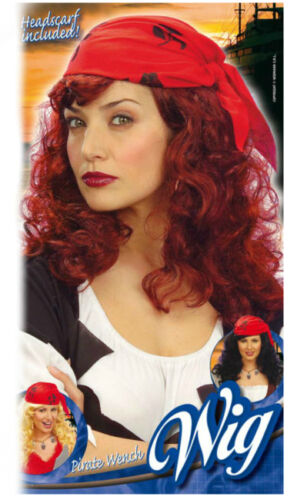 Ladies Pirate Wench Wig Blonde Red With Bandanna Tavern Wench Wig
