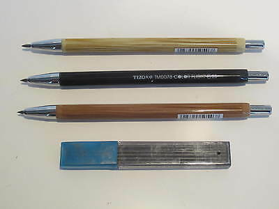 SET OF 3 MECHANICAL PENCILS 2.0MM+ 10 SPARE 2.0MM HB LEAD-GREAT DEAL