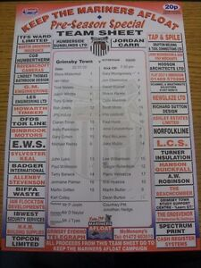 22-07-2005-Colour-Teamsheet-Grimsby-Town-v-Rotherham-United-Friendly-folded