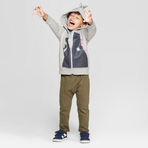 NWT CAT /& JACK Toddler Boy Dinosaur Zip-up Hoodie Sweatshirt Spikes 18M 2T 3T
