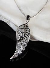 Solid Sterling Silver 925 CZ Angel Wing Pendant 16 18'' Chain Necklace Gift Box