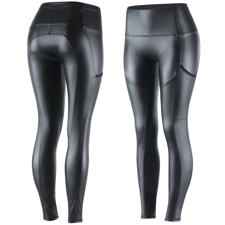 Horze Mujer Negro Negro Negro Cuero-como Elástico Cómodo Bolsillo Calzas US 28 EU 40 073766