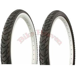1-PAIR-DURO-Bicycle-Tire-26-034-x-2-125-ALL-BLACK-or-Black-White-Beach-Cruiser-Tire