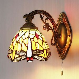 Image is loading Tiffany-Dragonfly-Pattern-Stained-Glass-Wall-Sconce-LED- & Tiffany Dragonfly Pattern Stained Glass Wall Sconce LED Wall Light ...