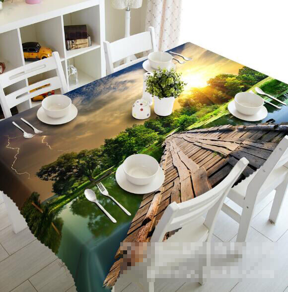 3D Lake Bridge 16 Tablecloth Table Cover Cloth Birthday Party Event AJ WALLPAPER