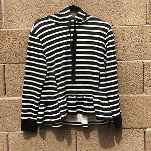 Women-039-s-Kate-Spade-Broome-Street-Striped-Sweater-with-ruffled-hem-with-hood-Sz-S