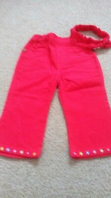Just Too Cute Bright Red  Cord Trousers And Headband Size 18/23 Months Brand New Firm In Structure Clothes, Shoes & Accessories Trousers & Shorts