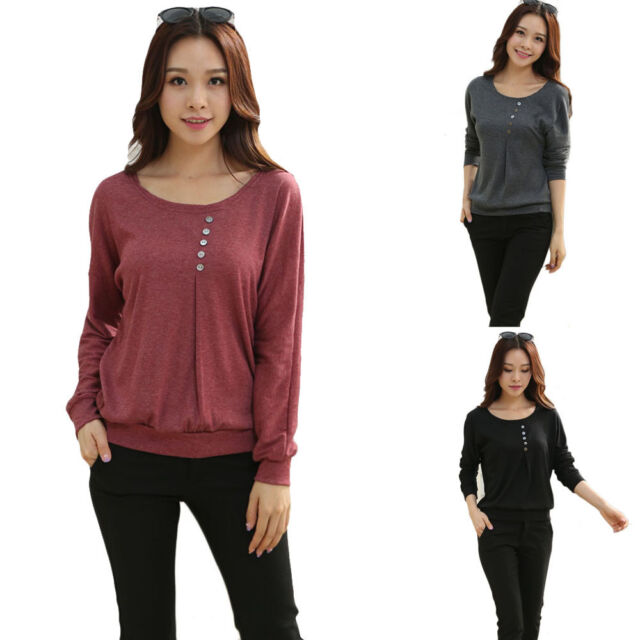 1PC Women Casual Sexy Cotton Batwing Sleeve Loose T-Shirt Tops Blouse Hoc