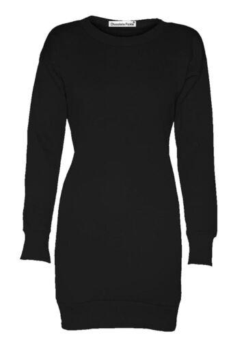 New Ladies Long Sleeve Plain Sweatshirt Fleece Jumpers Mini Dress 8-22