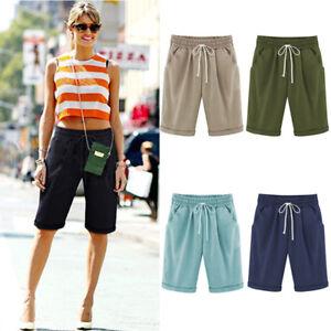 Da-Donna-High-Waist-3-4-Tessuto-Pantaloni-Bermuda-Pantaloncini-Capri-Pantaloni-corti-lotti-Casual
