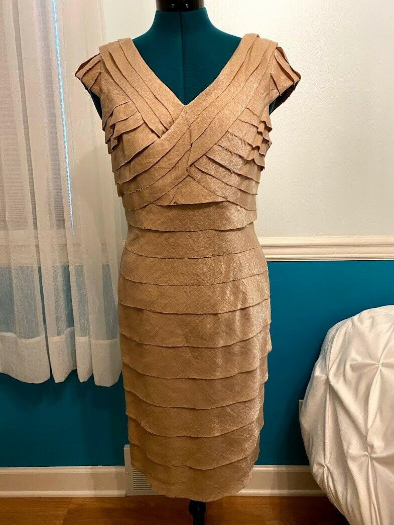Dress Barn Collection Formal Dress, Champagne Color, Ruffles, Size 10