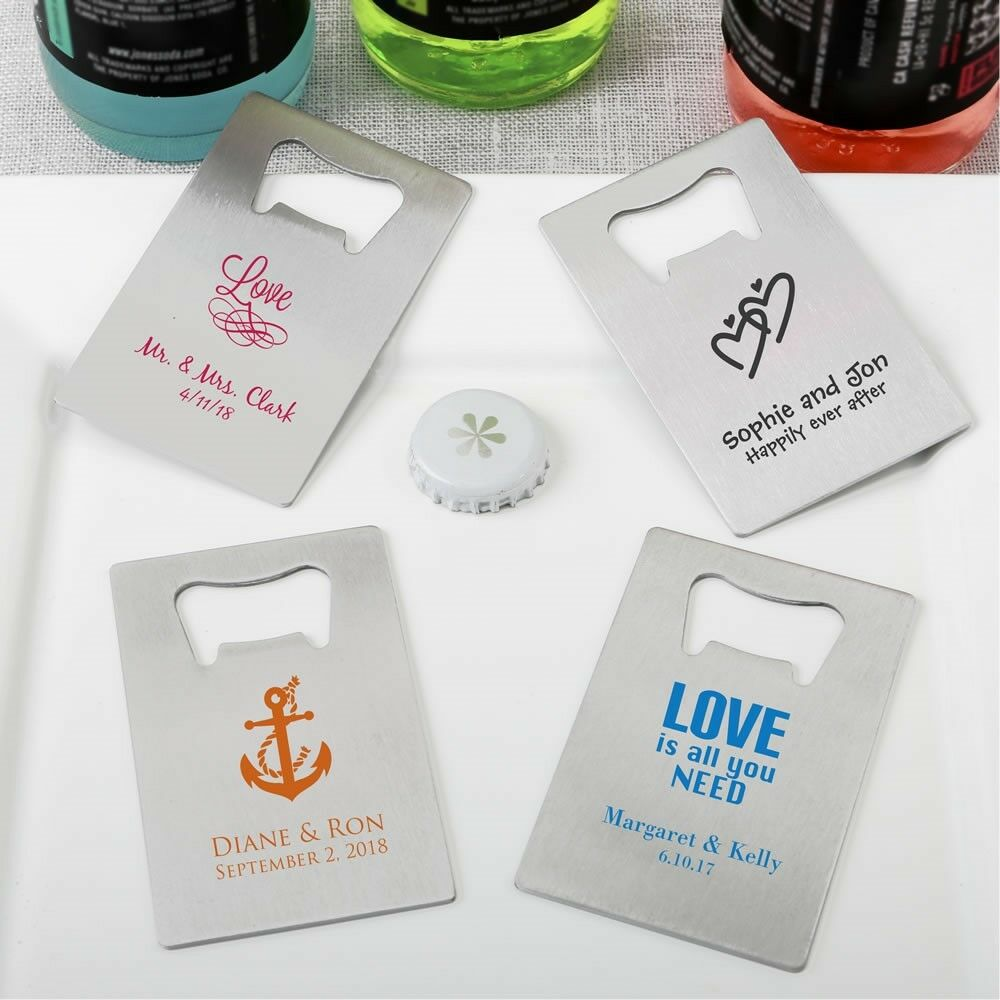 70 Personalized Crotit Card Bottle Openers Wedding Bridal Shower Party Favors