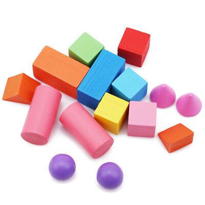 1 Set Kids Wooden Building Blocks Geometric Shape Intelligence Educational Toy