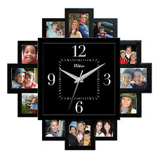 Quartz Wall Clock Picture Frame 12 Photos Living Room Family Decor Album Kitchen